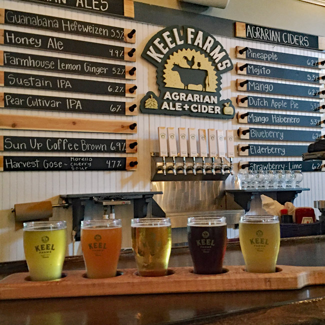 Five Beer Flight from Keel Farms Agrarian Ale and Cider